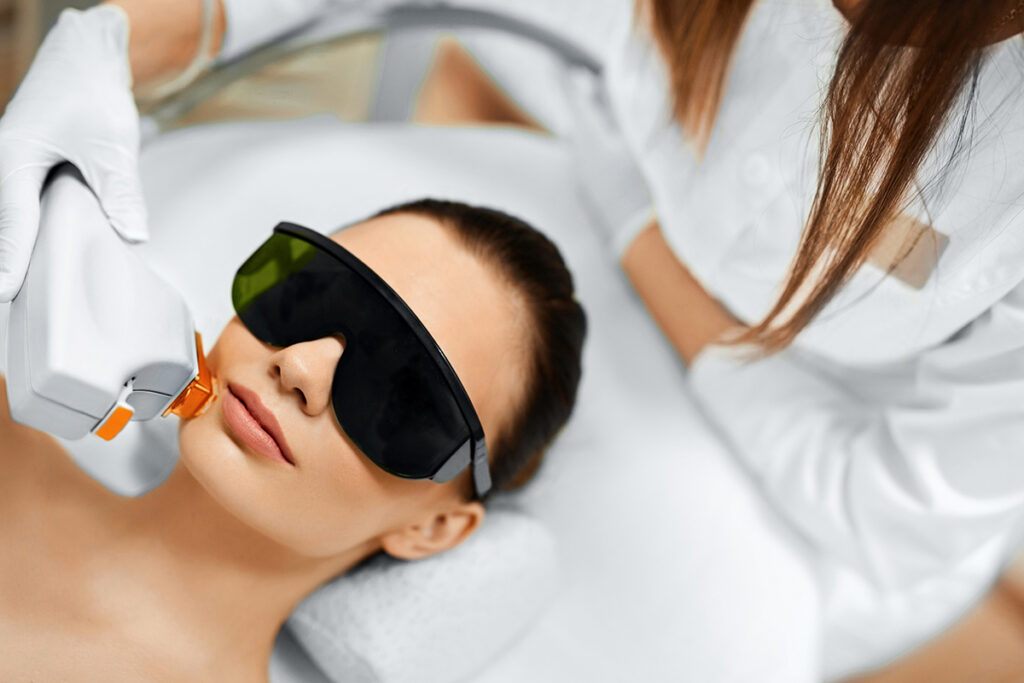 3D Rejuvenation services - Woman wearing protective eyeware while having procedure on her face